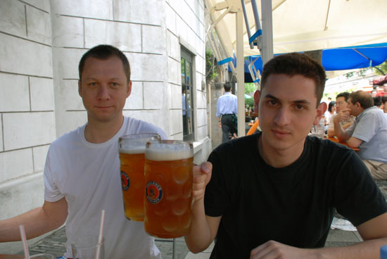 Guten Morgen from China. SN and I at a German restaurant in Shanghai. We could have maybe just had the smaller .5 liter Paulaners for breakfast, but when in Rome, Germany, China.