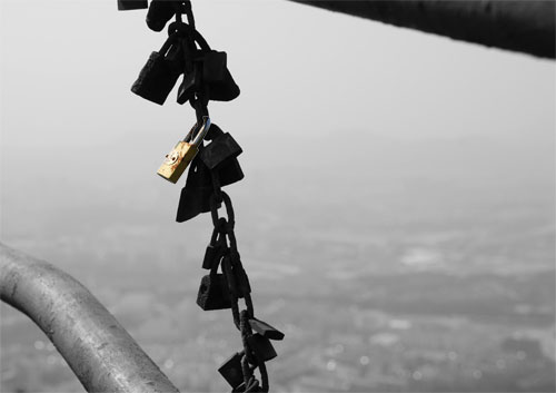 Locks for luck on Purple Mountain.