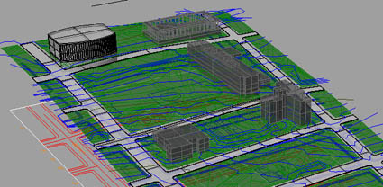 The beginning of a computer model of the Grand Ave. Park area of downtown Los Angeles.