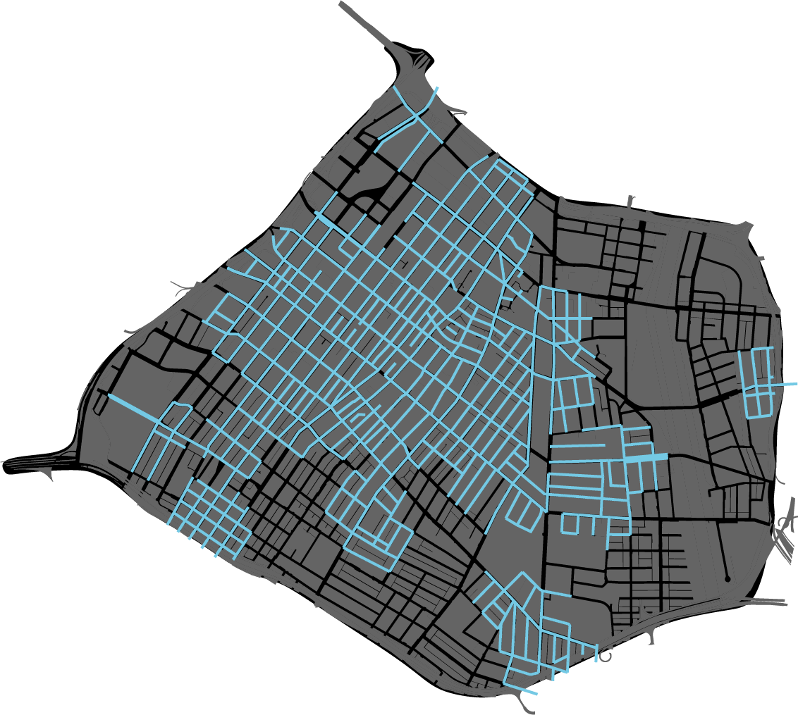 Convert 55.5 miles (50%) of DTLA streets to AV only.