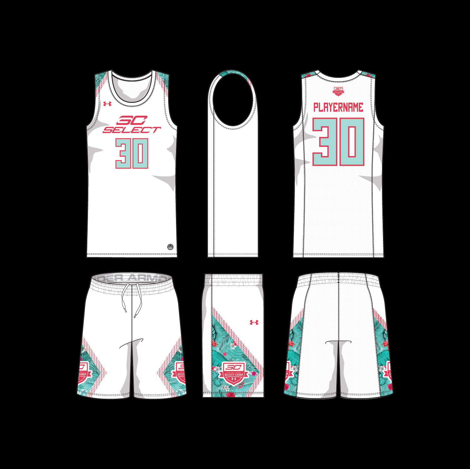 White Game UnIforms. Floral and hex prints picked up from Curry 6 shoe designed for SC30 Select Camp.