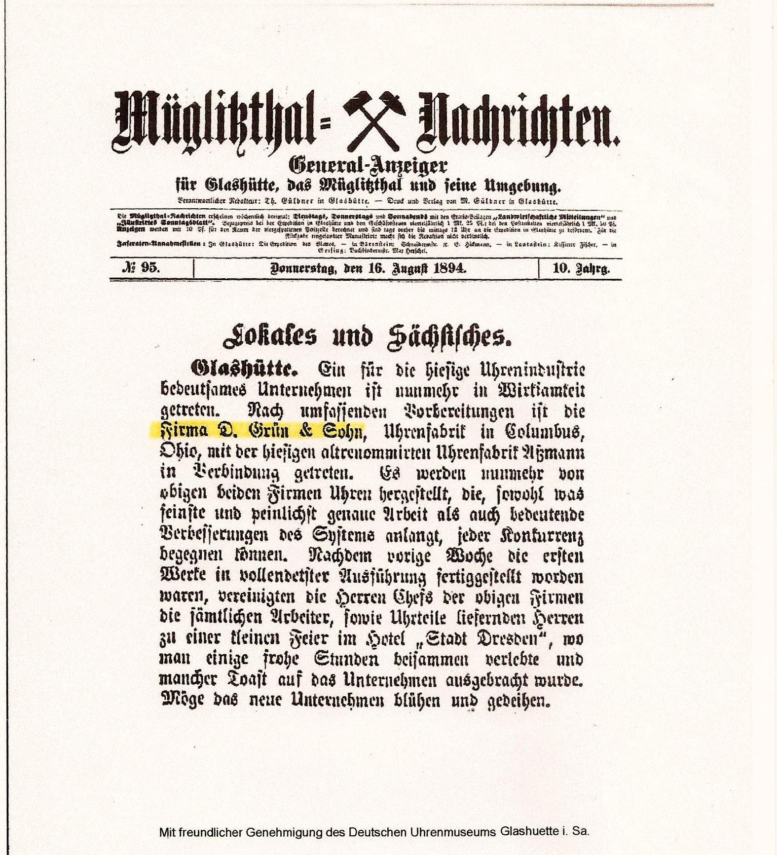OBEN:  Kopie   Zeitungsbericht vom 16. August 1894, zur Gründungsfeier der  GRUEN-UHREN  - Firmengeschichte ,  im Hotel STADT DRESDEN, in Glashütte i. Sa.