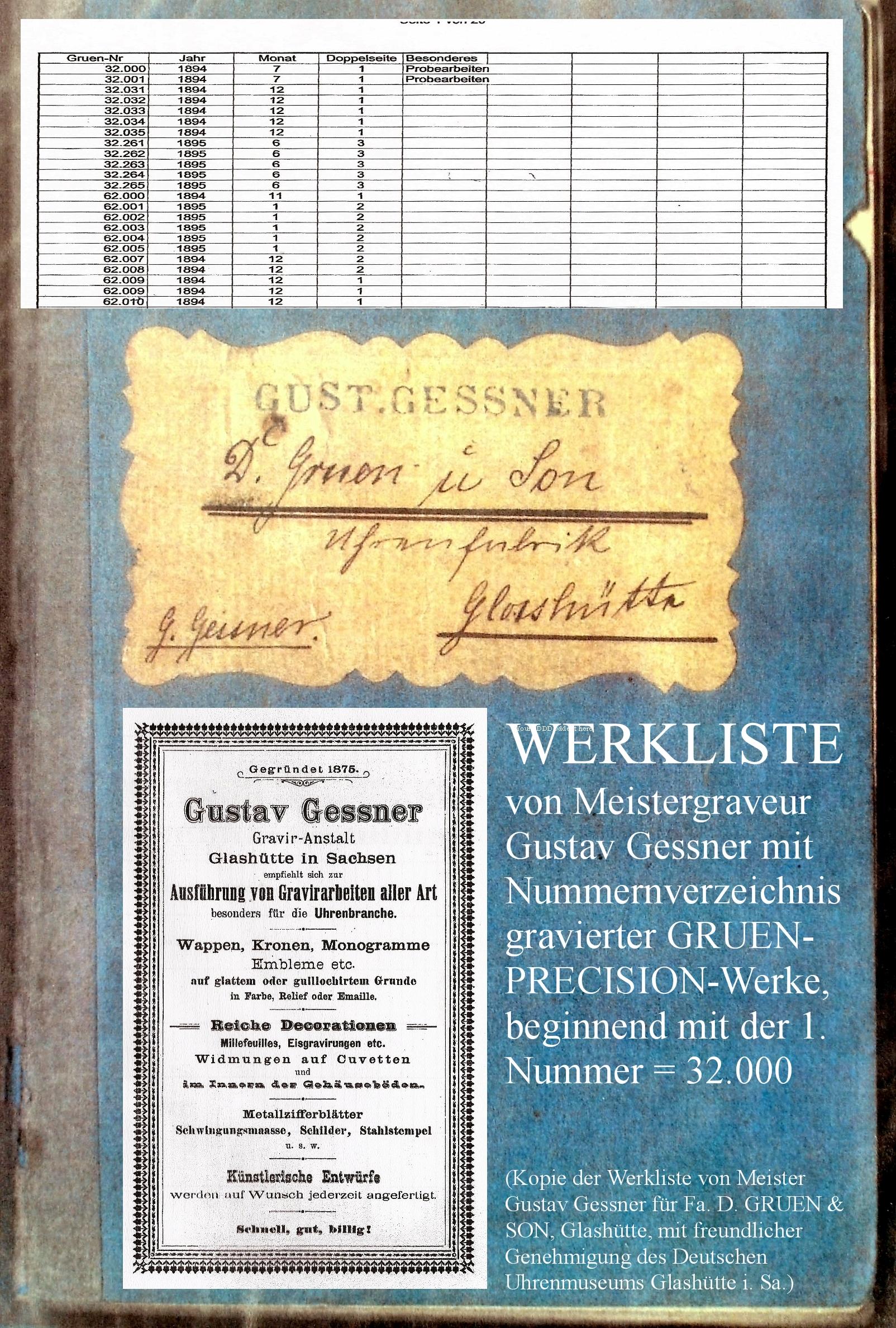 Photo/Collage  oben : Gerhard Bechtoldt DGS Glashuette i. Sa. GmbH   OBEN:  Das nächste Werkbuch von Gustav Gessner für die später in  D. GRUEN & SONS / D. GRUEN & SOEHNE  umbenannte  GRUEN-Uhrenfabrik  in Glashütte ist nicht mehr verfügbar. Insofern fehlen die späteren  D. GRUEN & SONS/SOEHNE -Nummernlisten aus der Bearbeitung im Hause von Meistergraveur Gustav Gessner. Werknummer und Datum der letzten  GRUEN- PRECISION - Uhr  aus Glashütte i. Sa. sind bishernicht exakt bestimmbar.  Fachleute vermuten heute, dass die letzte Glashütter Werknummer im Bereich der 68.000er liegen dürfte.   www.glashuetteuhren.de/die-uhrenfabriken/j-assmann-glashuette-i-sa-deutsche-anker-uhren-fabrik-1/gruenschen-uhrenfabrikation-gruen-und-assmann/     UNTEN:  Werkfoto der weltweit jüngsten bisher dokumentierten  GRUEN-Uhr aus Glashütte i. Sa.  , mit Werknummer 68174 . Diese Uhr befindet sich ebenfalls in unserem Firmenmuseum. Es handelt sich um eine DGS- Extra-Precison -Uhr in 1-A-Qualität, mit 21 Steinen und besonderem Zifferblatt. Im Unterschied zu früheren Werken sind u. a. Moustache-Anker und Ankerrad aus Stahl gefertigt, die Chaton-Schrauben radial gesetzt und die Feinregulierung modifiziert.
