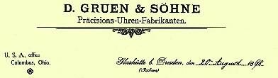 photo  oben : Ingeborg Bechtoldt DGS Glashuette i. Sa. GmbH :  Firmenlogo DGS - Präcisions-Uhren, Glashuette 1898