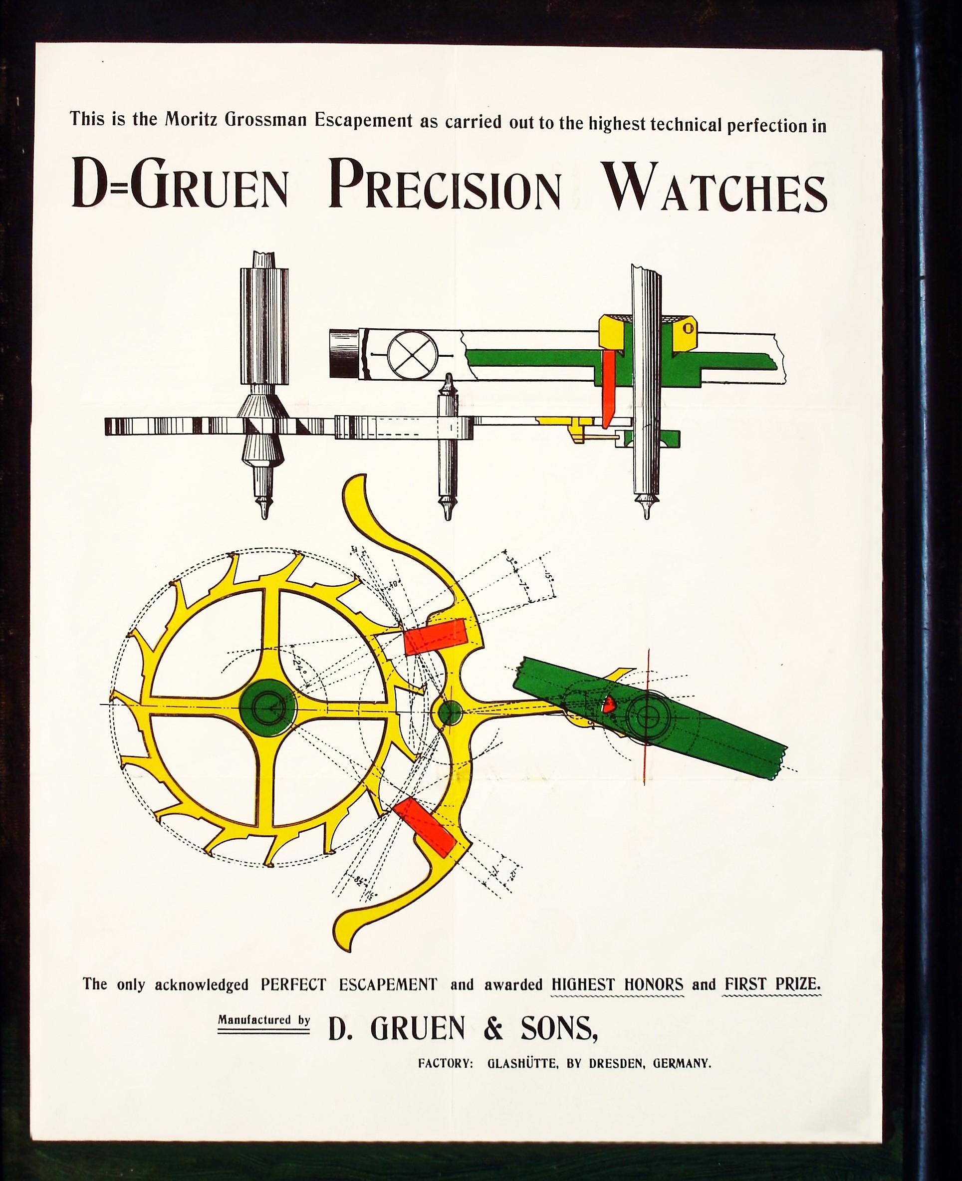 """Photo  oben : Thorsten Bechtoldt DGS Glashuette i. Sa. GmbH  : GRUEN-Precision-Hemmung Schautafel für DGS-US-Konzessionäre um 1900   OBEN:  MORITZ - GROSSMANN - """"Perfect-Escapement"""" fuer  GRUEN-PRECISON  - Uhren   von  D. GRUEN & SONS  in Glahütte i. Sa."""
