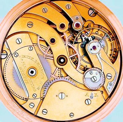 OBEN:  Hochwertige TU,  Patek Philippe & Cie.   - Chronometro - Gondolo , um 1910, mit  aehnlicher Escapement-Konstruktion wie die etliche Jahre zuvor in Glashuette i. Sa. verwendete MORITZ - GROSSMANN - GRUEN-PRECISION   - Hemmung  = Escapement mit Gleichgewichtsanker (Moustache - Anker), Chronometer-Unruh mit Goldschrauben, Deckplatte auf Ankerwellenlager und Ankerrad und Exzenter-Feinregulierung, hier in französisch von  A  =  A dvance   (Vorgang) nach  R  =  R etard (Nachgang).    http://gisbert-brunner.gq.de/post/84404559598/herzliche-gratulation-patek-philippe-wird-am-1    Photo  oben : Timo R. Bechtoldt DGS Glashuette i. Sa. GmbH