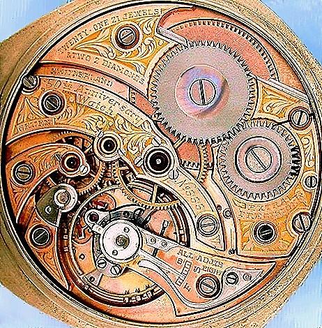 Golduhrwerk der Jubiläumsuhr zum 50. Jubiläum der US-Patent-Erteilungfür  DIETRICH GRUEN -  1874, limitiert auf 600 plus 50 Stück= je 1 Uhr pro Monat plus je 1 Uhr pro Jahr, von 1874 bis 1924