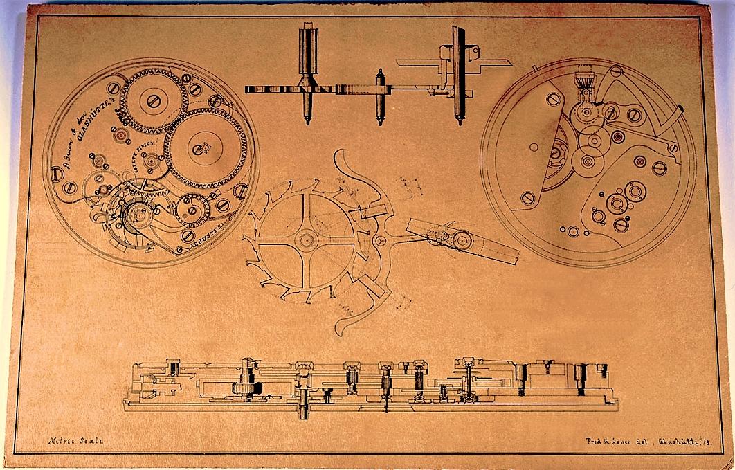 OBEN: `Original-Arbeitsskizze von  FRED GRUEN  aus der Deutschen Uhrmacherschule in Glashütte i.Sa., für die weltweit  erste GRUEN-UHR  mit der Firmenbezeichnung  D. GRUEN & SON  im Jahr 1894. Ursprünglich hat FRED GRUEN dazu Werknummern ab 35.000 vorgesehen, später hat man, in Zusammenarbeit mit  Fa. Julius Assmann , erste Prototypen mit Werknummer um 32.000 gebaut,  und für die anschliessende Serienfertigung der  D. GRUEN & SON - Uhren  in Glashütte i. Sa. neue Werknummern ab 62.000 verwendet. - Siehe Nummernliste unten der damaligen Gravieranstalt Gustav Gessner in Glashütte i. Sa., archiviert im Deutschen Uhrenmuseum Glashütte i. Sa.