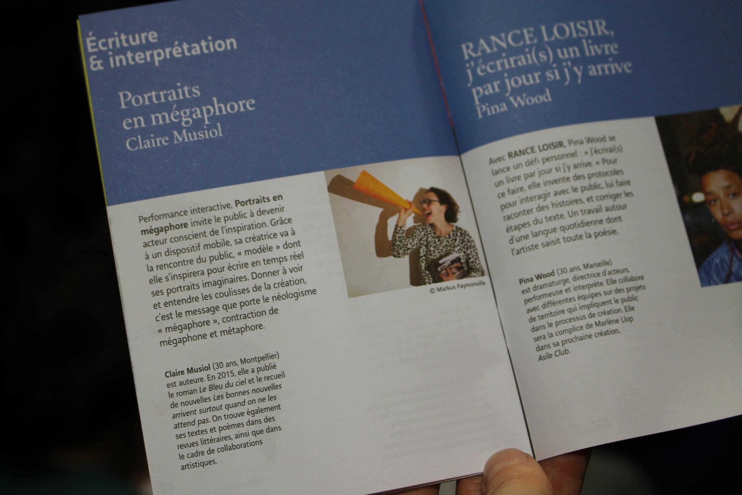 page de la performance sur le livret de l'événement ((c) Alix Desforges)