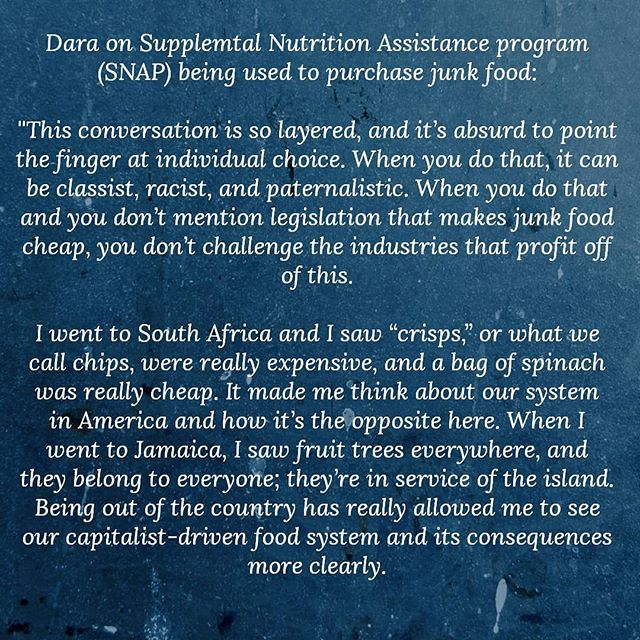 Quote form Dara Cooper, activist, organizer, writer, and co-founder of the National Black Food and Justice Alliance (NBFJA) . . . . . . . . . . . . . . #panafrique #panafrican #superfood #foodie #foodpolitics #foodpolicy #fooddesert #buyblack #blackcreatives #blacklove #RepresentationMatters #blackfarmers #blackvegan #afropolitan #healthyfood #melaninpoppin #melanin #organic #blackchefs #blackchef #foodjustice