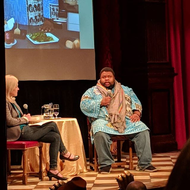 """We sop because of fufu"" ""We need to value ourselves not just as people but as producers"" - Michael Twitty  Great talk by culinary historian and chef Michael Twitty! He highlighted the soul and traditions carried in the African diaspora's cooking. Also the need to respect and pay tribute to the African diaspora culinary style and traditions. We are valuable and what we produce in valuable! . . . . . . . . . . #panafrique #panafrican #artist #blackcreatives #blackisbeautiful #blacklove #buyblack #blackwriters #foodie #blackfoodie #blackchef #afropolitan #diaspora #afro #bahia #fufu #soulfood #africanchef #melanin #melaninpoppin #melanine #melanina"