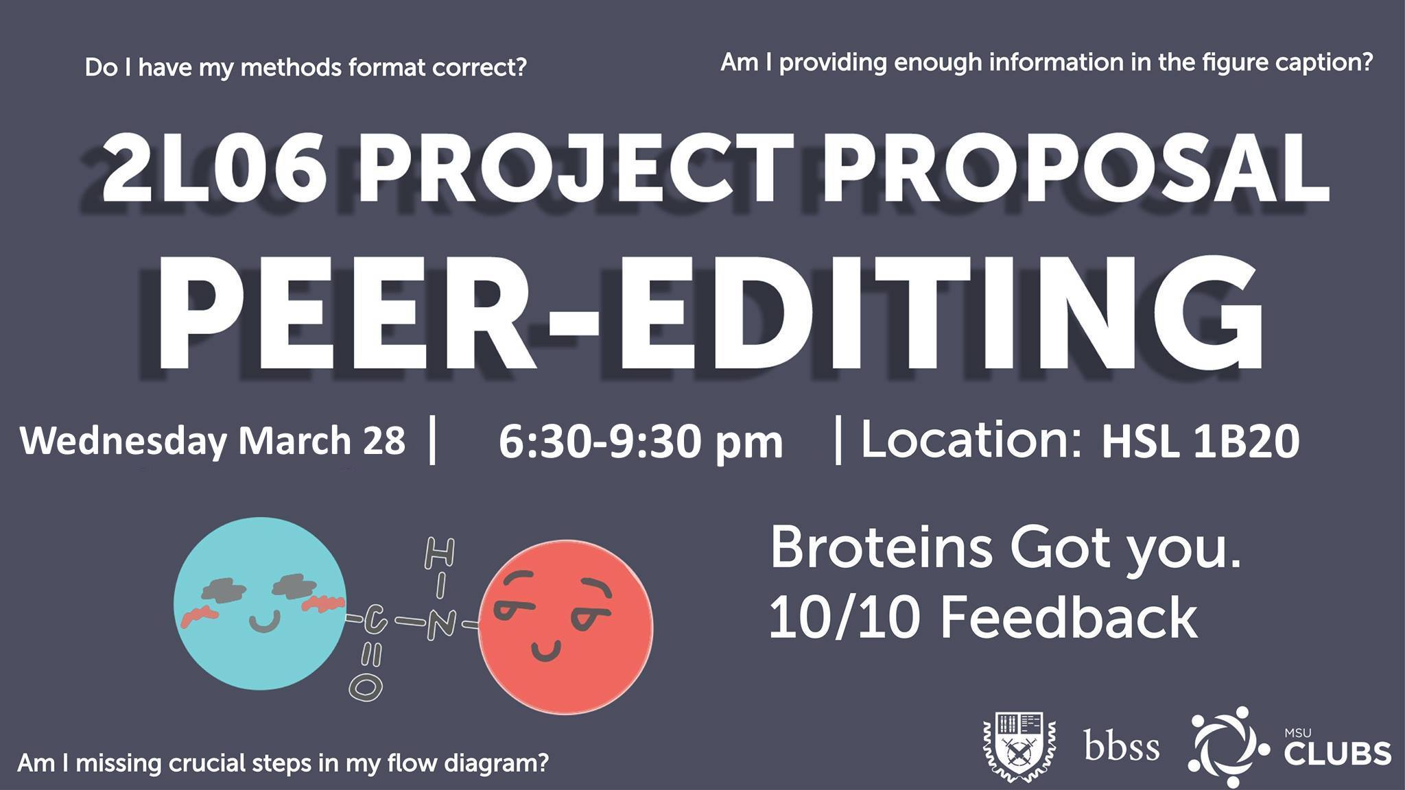 A drop-in session for editing your Grant Proposal with your upper year Broteins!
