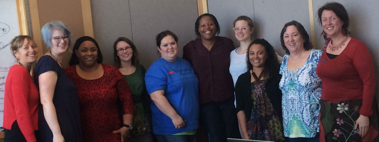 (l-r) Heather Meyer (communications), Raeben Nolan (President), Kimberly Porter (Diverse Communities), Courtney Everson (Vice Pres), Krystal Stanley (Treasurer), Leticia West (Membership), Tricia Merrit (Member-At-Large), Tierra Salmon (Secretary), Deb Catlin (Education), Jesse Remer (Policy/Advocacy)