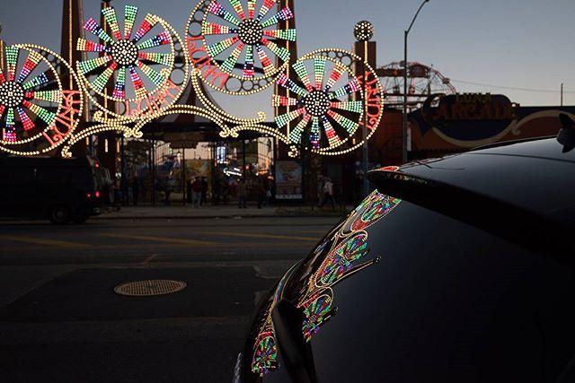 Reflections on a car, Coney Island amusment park