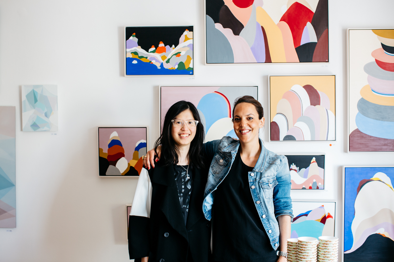Amber Creswell Bell with Evi O at her recent exhibition.