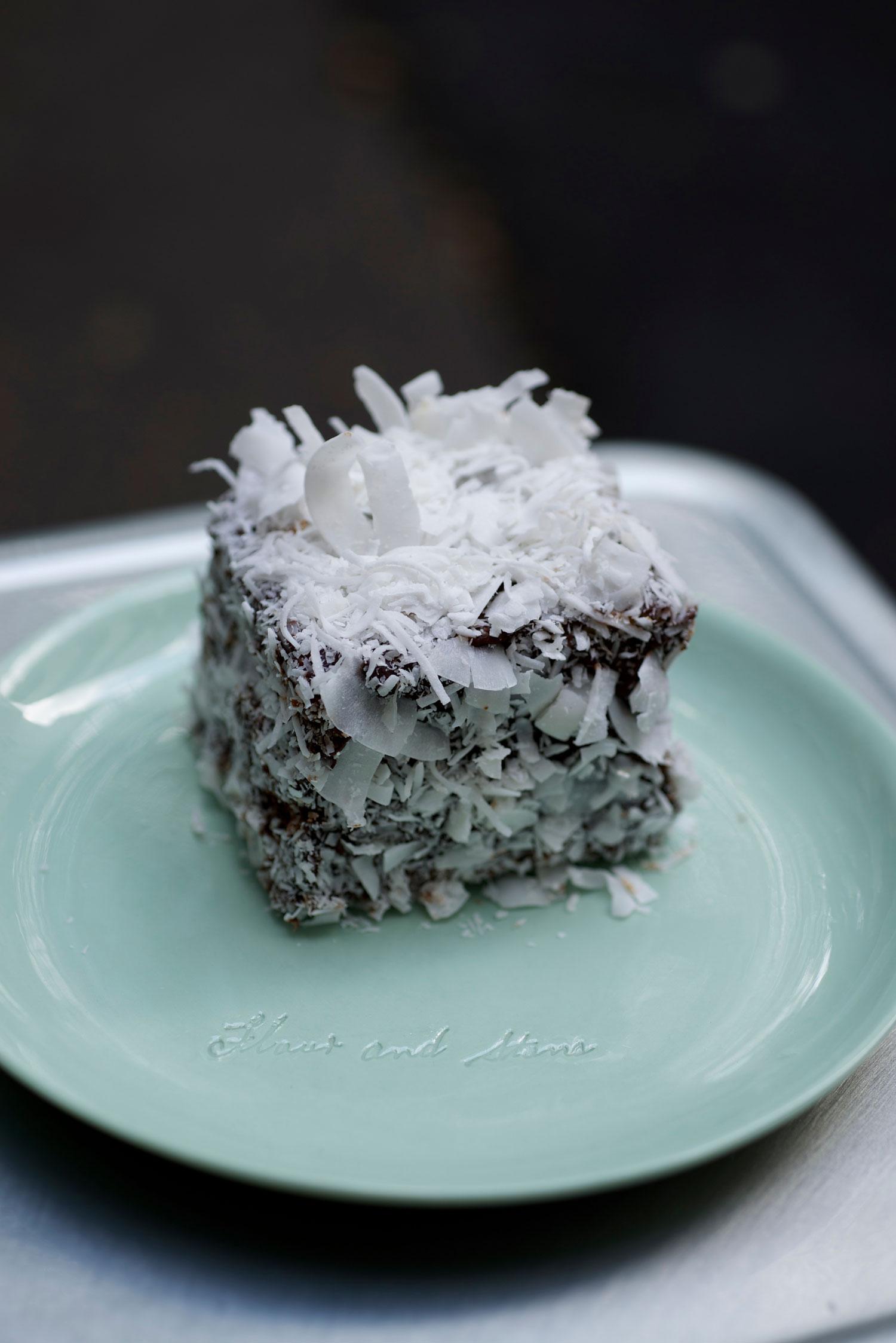 Flour and Stone's famous pannacotta Lamington.