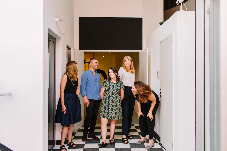 ACE Open staff L-R: Steph Lyall, Toby Chapman, Sarita Burnett, Vivian Cooper and Liz Nowell by  Jessica Clark