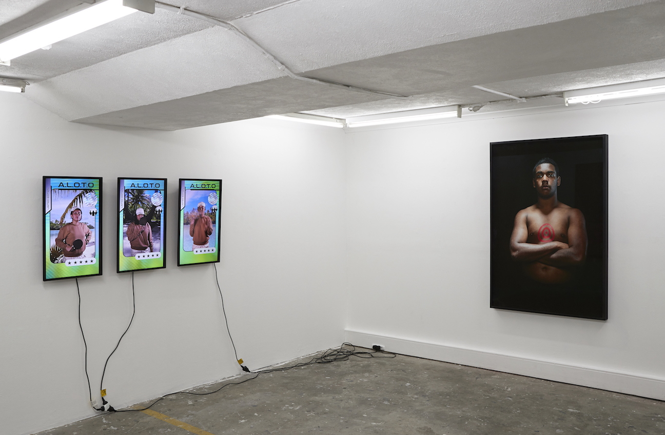 Engender at ALASKA Projects,Get to Work's 3 channel videos 'A.L.O.T.O' and Tony Albert's portrait 'Brothers (Our Present)', image by Zan Wimberley