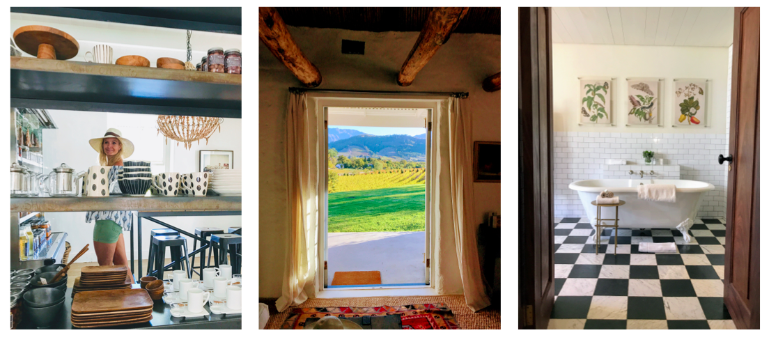 Left to Right: (1) Admiring the shop at  Maison ; (2) The view from our Airbnb; (3) Yes please to the bathroom in our hotel room at  Babylonstoren