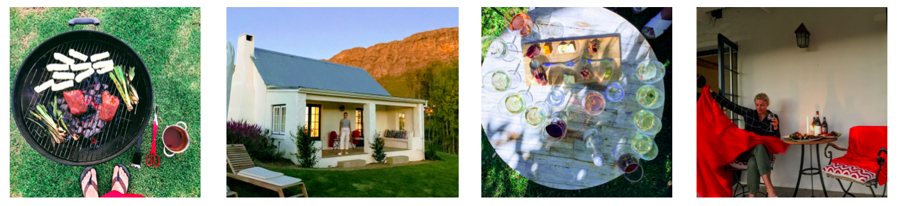Left to Right: (1) Ostrich, leeks and halloumi on the grill; (2) Our adorable Airbnb cottage; (3) Wine tasting at  Maison ; (4) Getting warm and drinking wine.