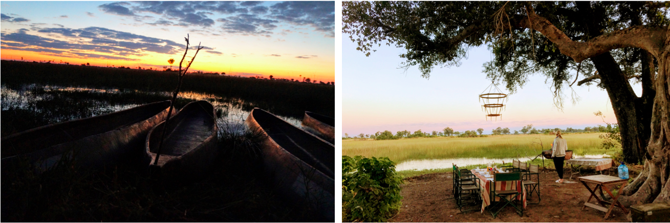 (1) Mokoros, a traditional dugout canoe, at sunset, (2)Enjoying the view before dinner.