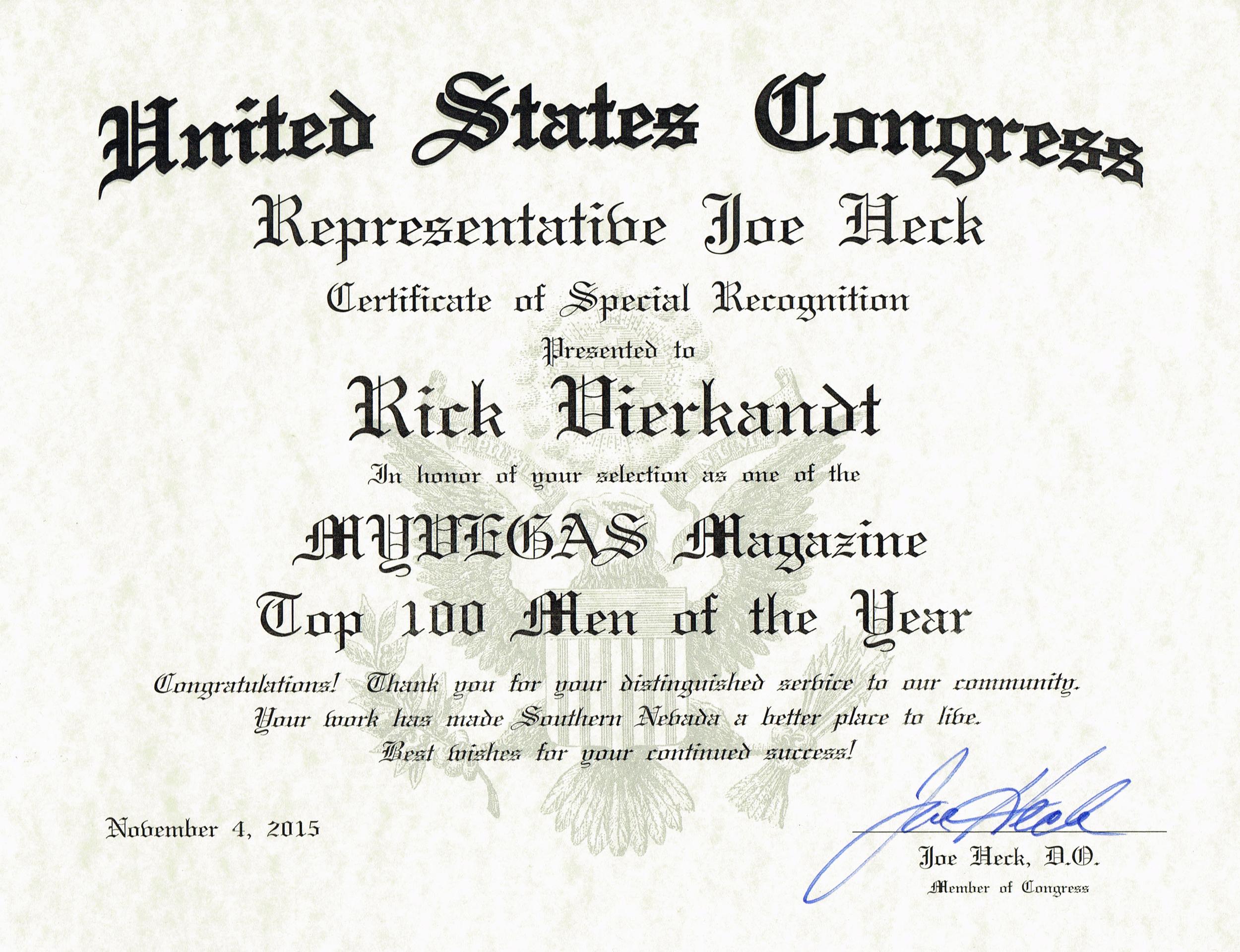 United States Congress- Joe Heck