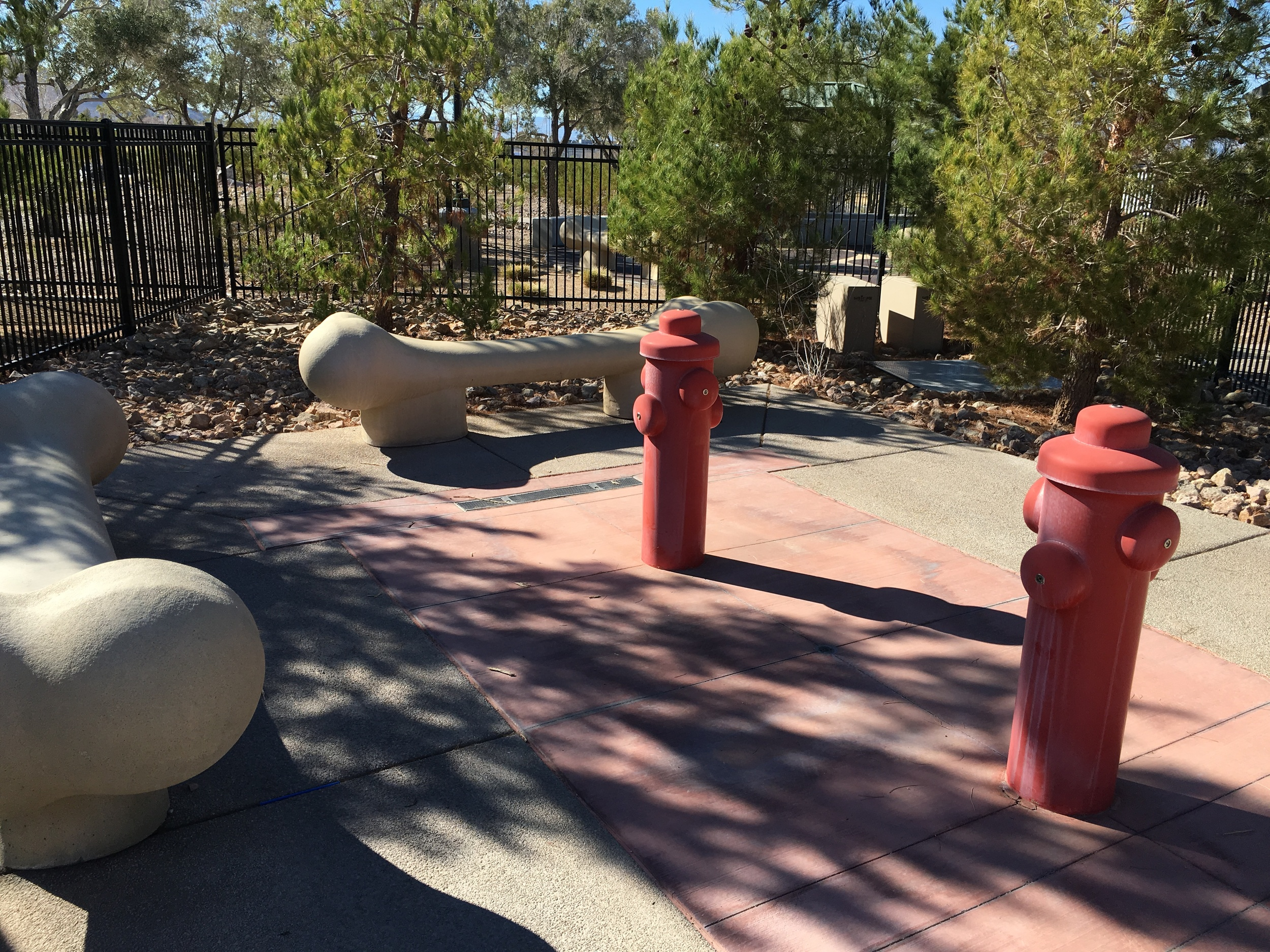 Dog Bone Themed Benches, and Fire Hydrants.
