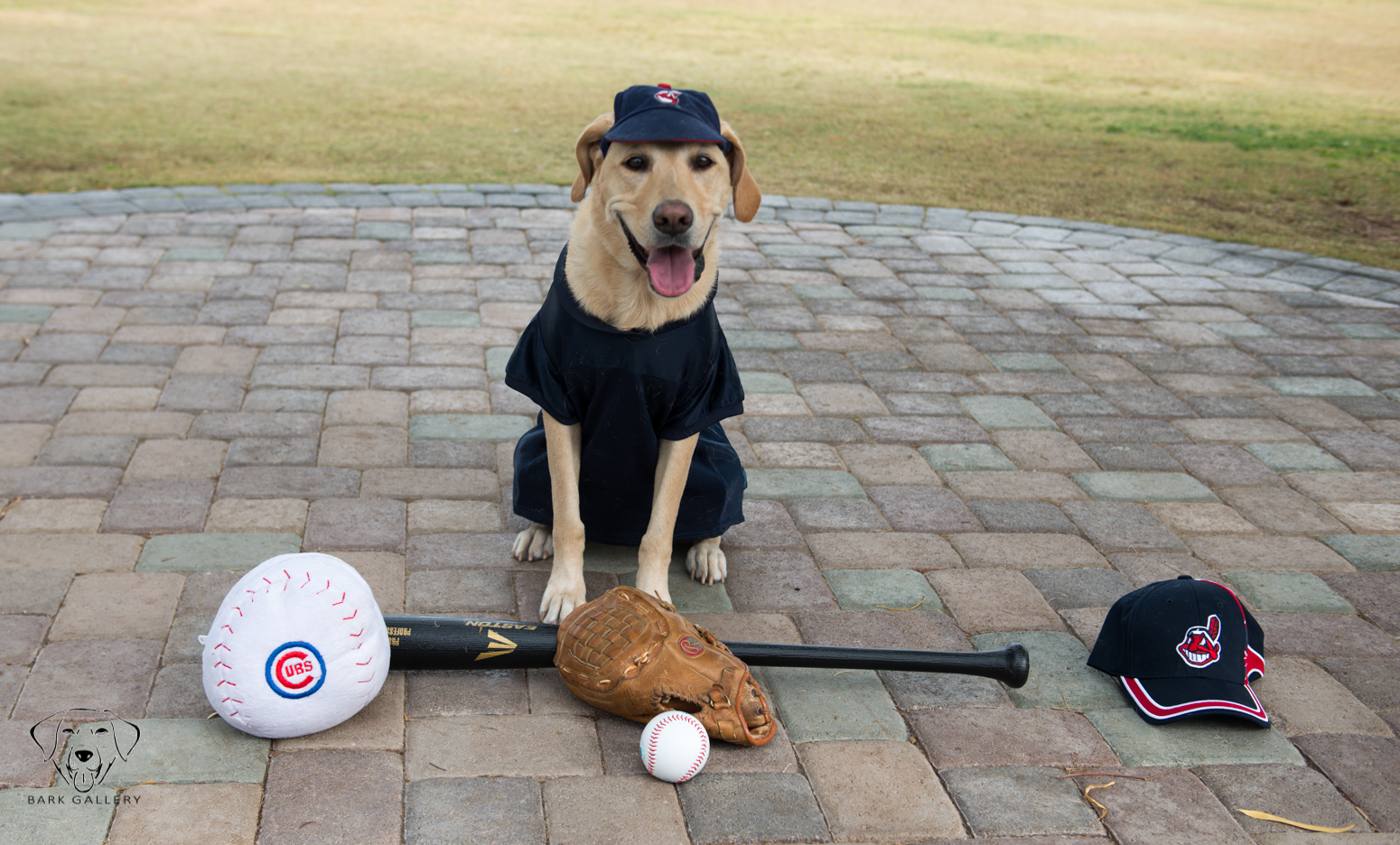 Benny poses for a photo with the Chicago Cubs and Cleveland Indians props.
