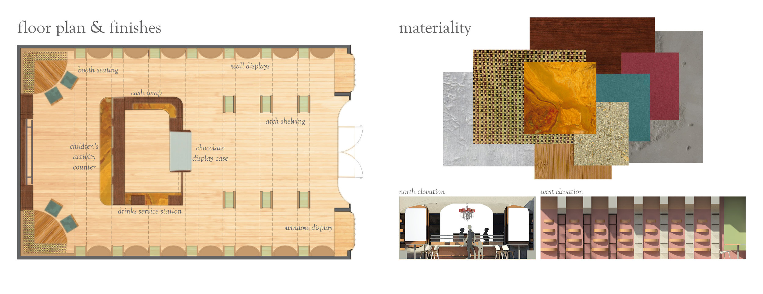 Yup, more work form my actual portfolio. Floor plan, materiality, and elevations.