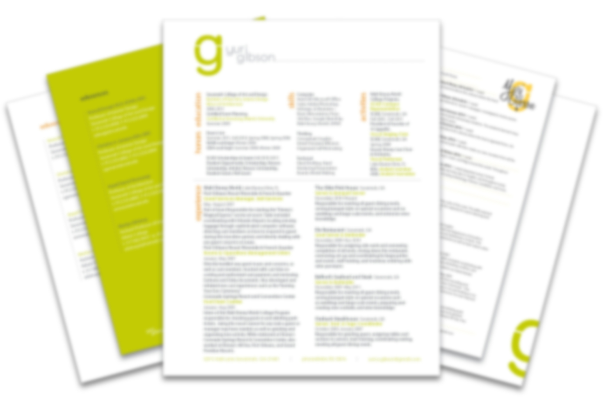 These are images of some of my resumes, references letters, and cover letters I've created using InDesign   (image is purposely blurred to not release any sensitive info, but I'm sure you get the idea: )
