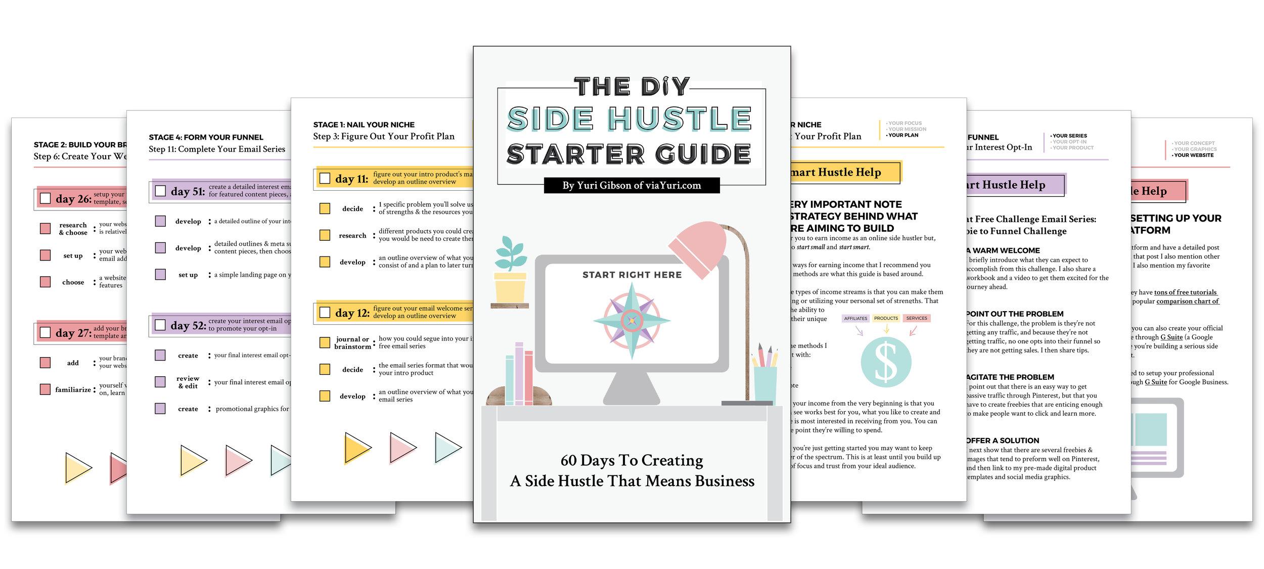 What's Inside: The DIY Side Hustle Starter Guide by Yuri Gibson of viaYuri.com