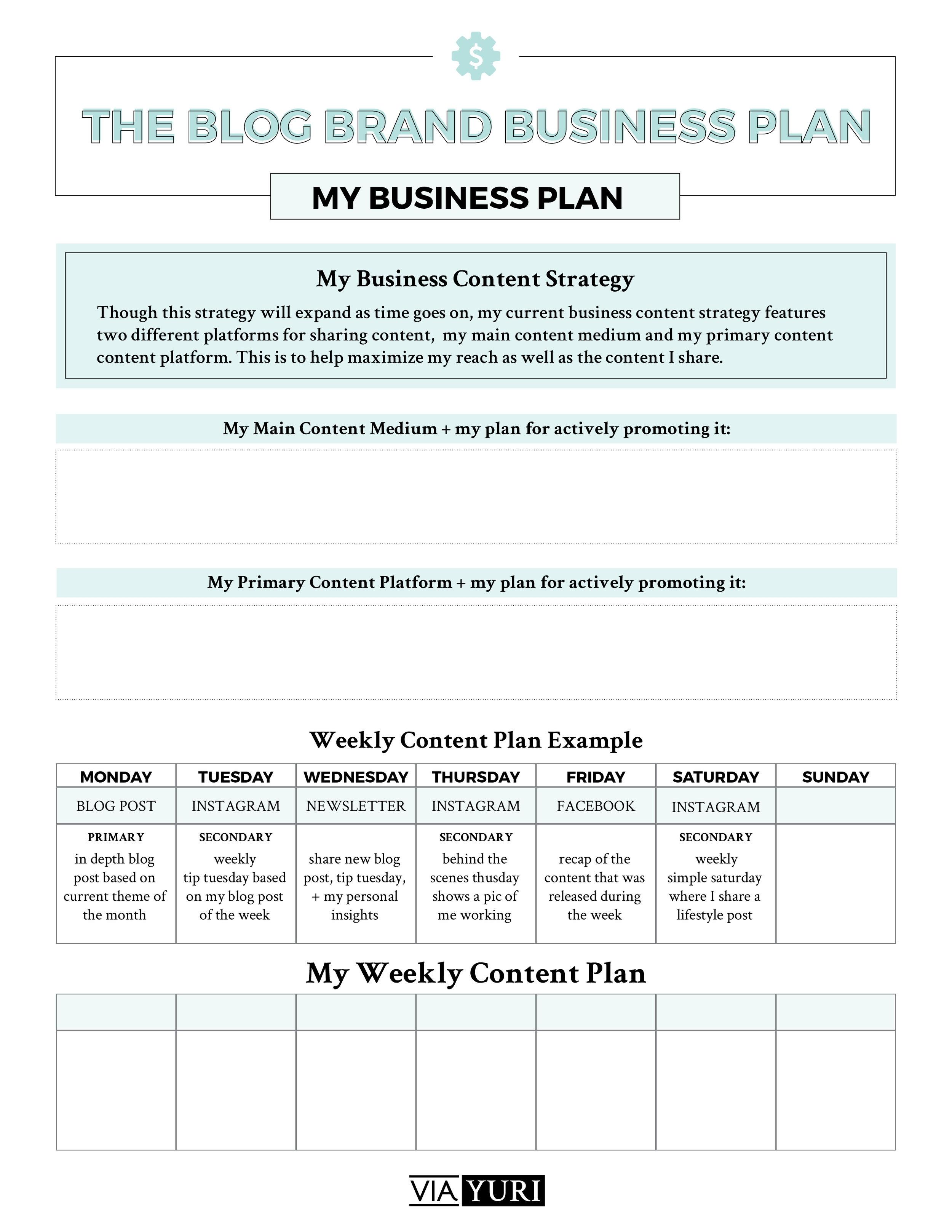 Weekly Content Plan Worksheet || The Side Hustle Quickstart Roadmap Free Course Worksheets | viaYuri.com