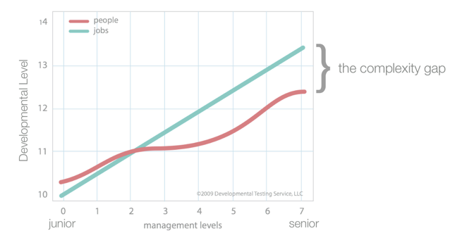 The teal line shows the complexity level of roles from Junior to Senior Leadership. The red line shows the capability level of manager/leaders to perform in these levels. Developmental Level describes the level of complexity related to roles and human capability.  The complexity gap describes the gap between leaders' capability and the complexity of roles.