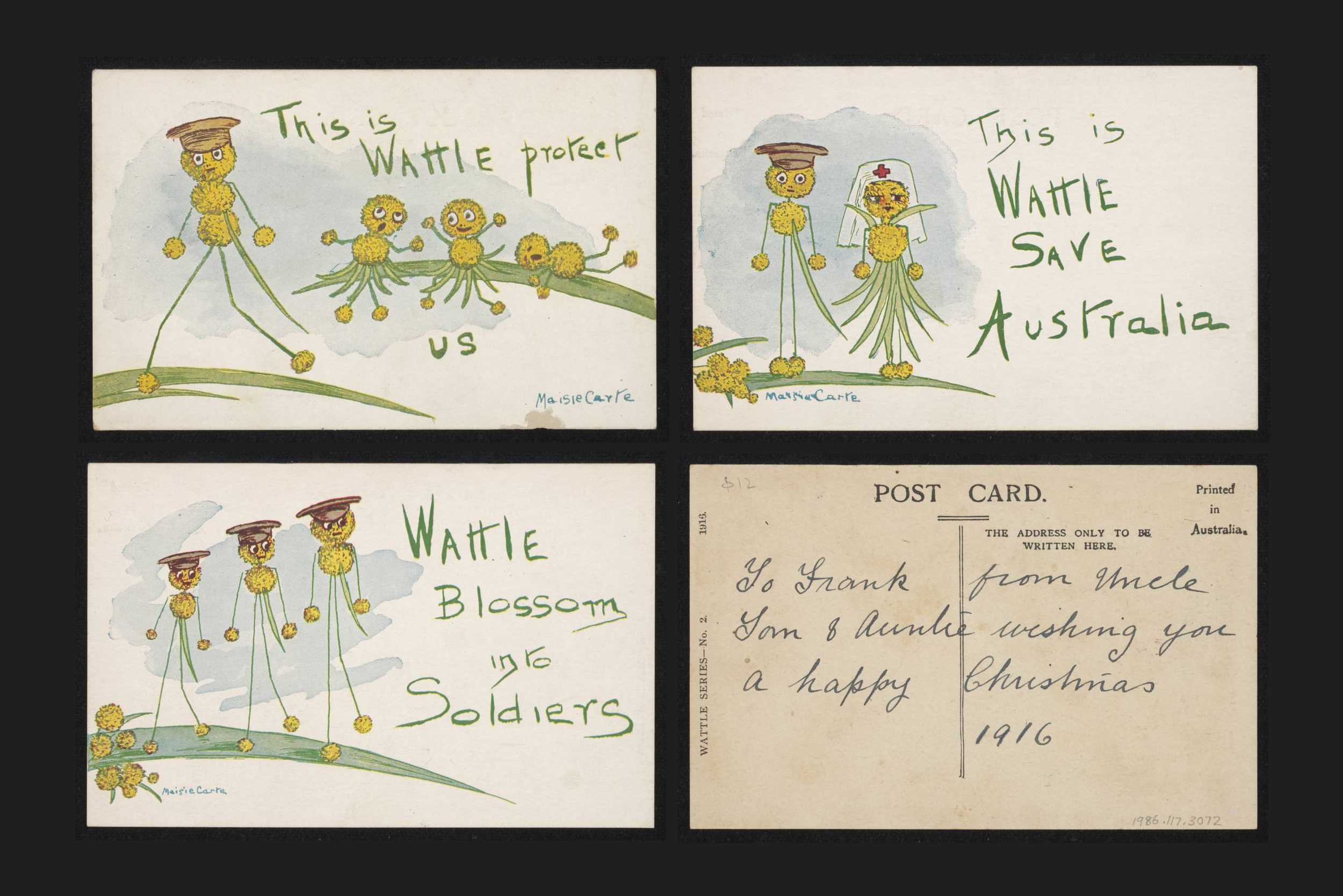 A postcard series featuring wattle soldiers, by Maise Carte, 1916. Image courtesy of the National Museum of Australia