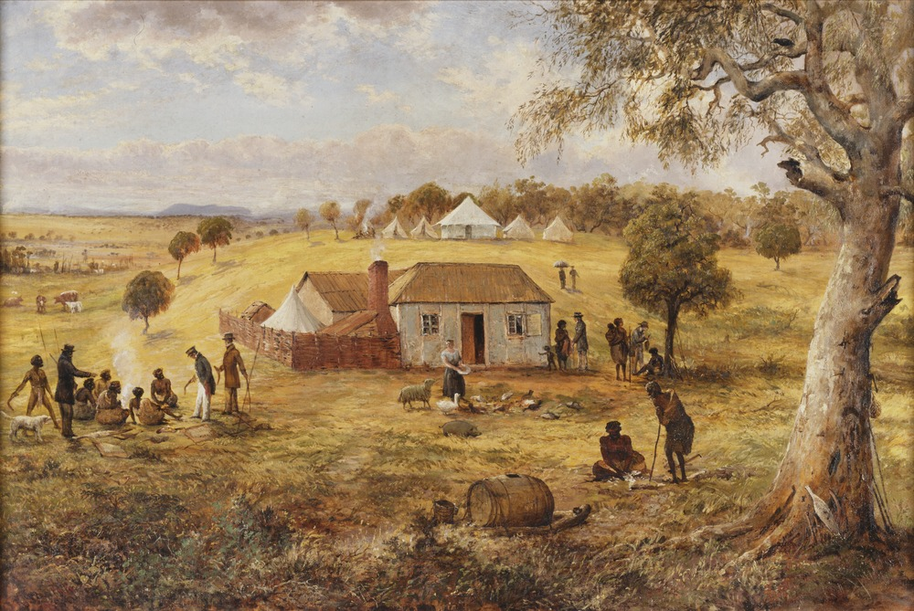 Government Residence, Melbourne 1837. Depicts a wattle and daub hut in the centre of the work. Artist Joseph Anderson Panton. Image courtesy  State Library Victoria .