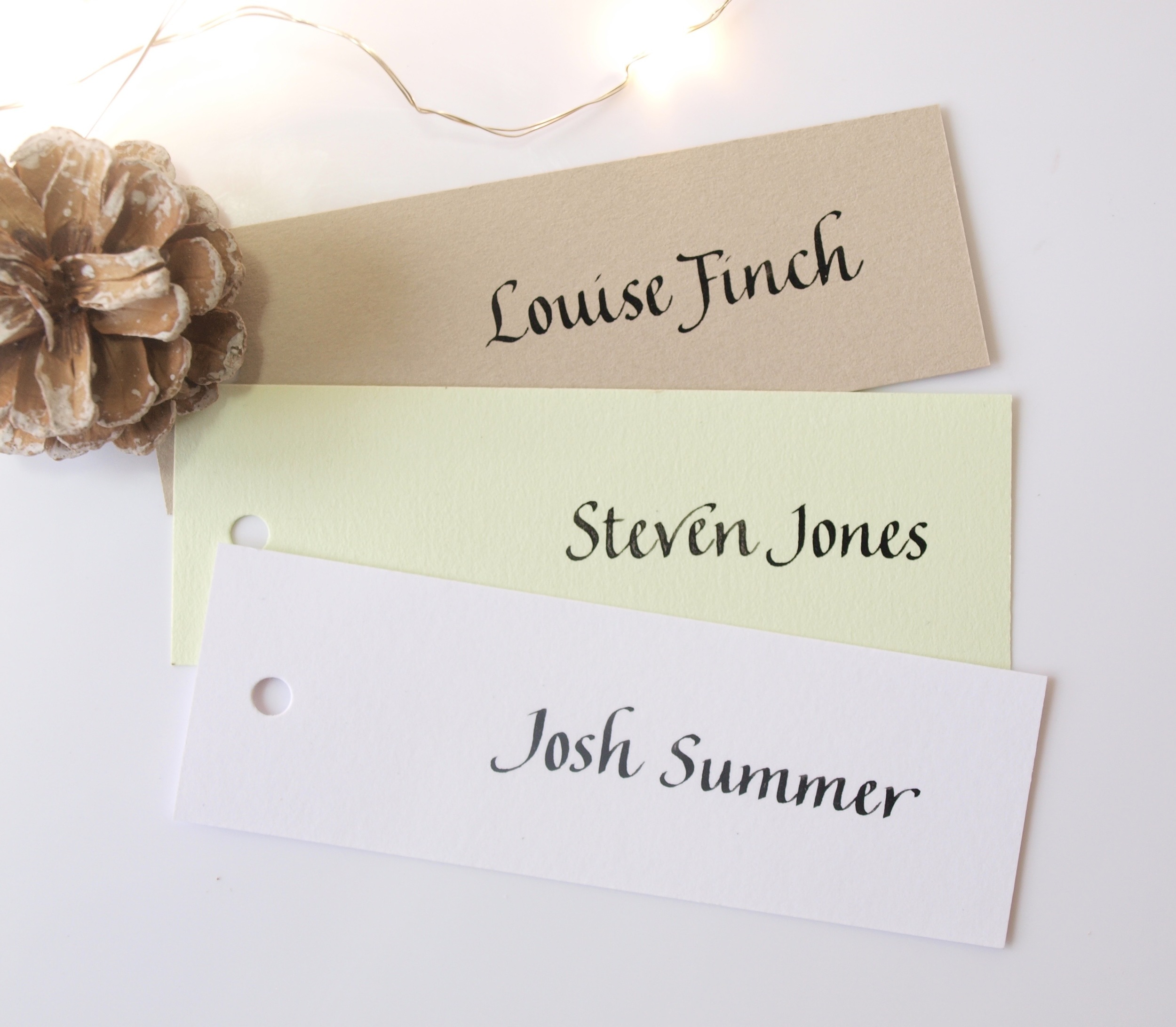 Flourished italic calligraphy place cards