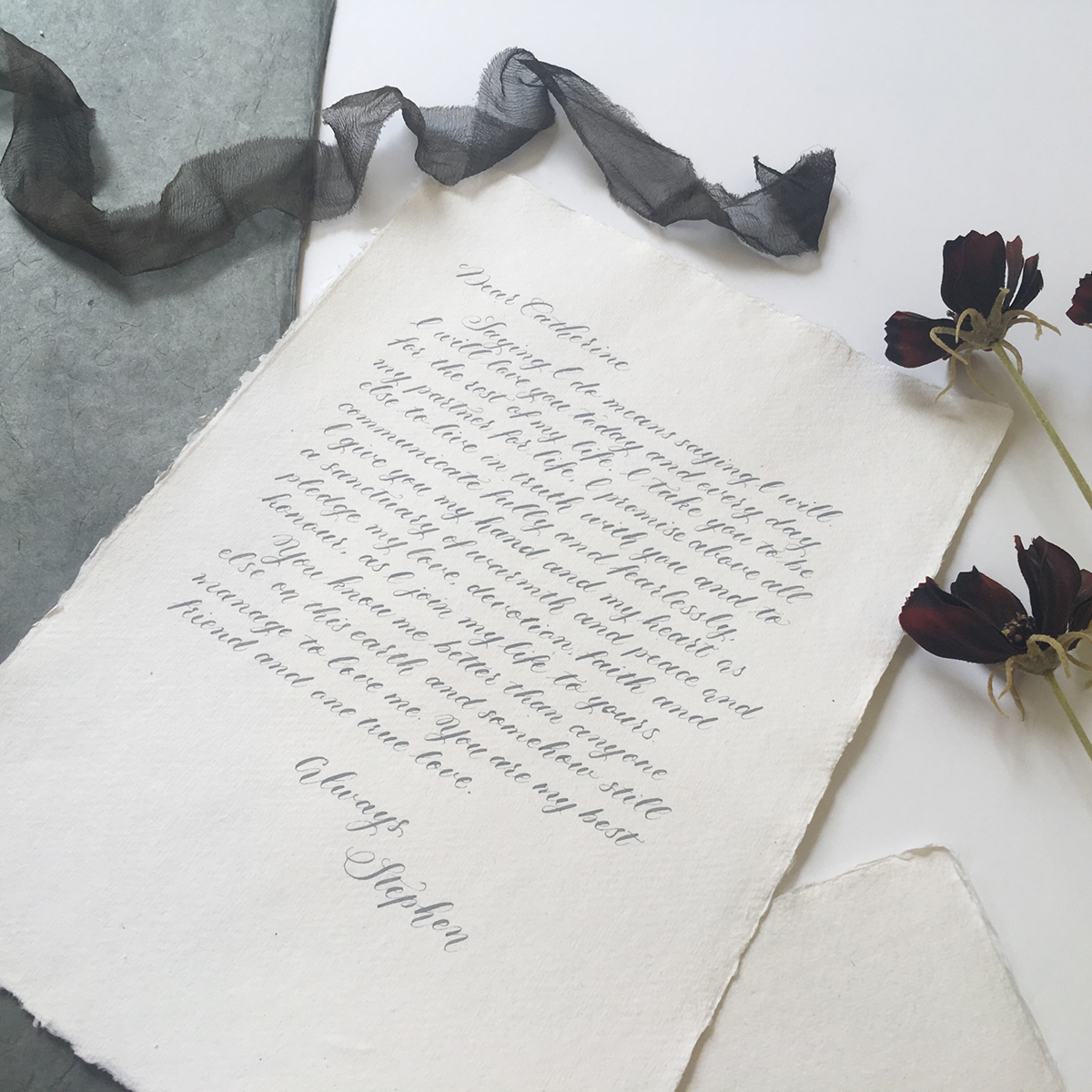 Wedding vows calligraphy