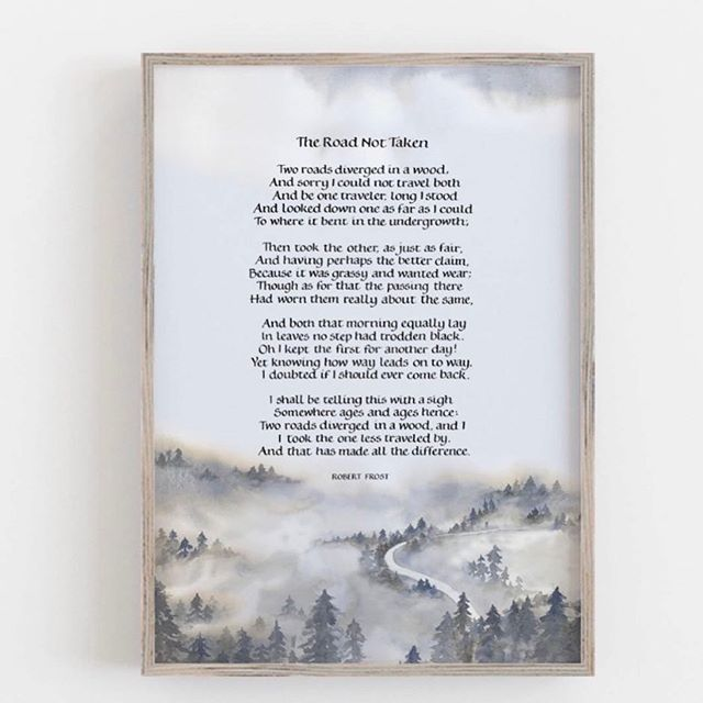 This is the most recent print I've made for my shop, foundational calligraphy on a watercolour painting of trees in the mist. The poem is The Road Less Travelled by Robert Frost. I often wonder how different my life would have been if I had taken a different path and this is what this poem is all about. . . . . . . . . . . #robertfrost #robertfrostquote #winterstories #thatsdarling #thatsdarlingweekend #artprints #watercolorpainting #scandistyle #calligraphy #foundationalhand #embracingtheseasons #whiteliving #thequietwinter #roadlesstraveled #flashesofdelight #myhyggehome #curated_nature #fluidcalligraphy #tworoads #inspiredbynature #watercolour #ukcalligrapher #inspirationalquote