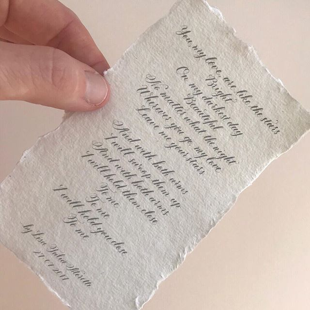 When the occasion calls for the tiniest piece of paper! . . . . . . . . #calligraphy #calligraphypoem . #lovepoem #johncooperclarke #handmadepaper #calligraphy #copperplate #miderncalligraphy #pointedpencalligraphy #lettering #poem #calligraphyart #ukcalligrapher #ukcalligraphers #moderncalligraphy