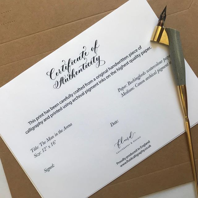 Just finished updating the design of the little certificate that go with each of my calligraphy prints.  #calligraphy #artprints #certificateofauthenticity #calligraphyprint #maninthearena