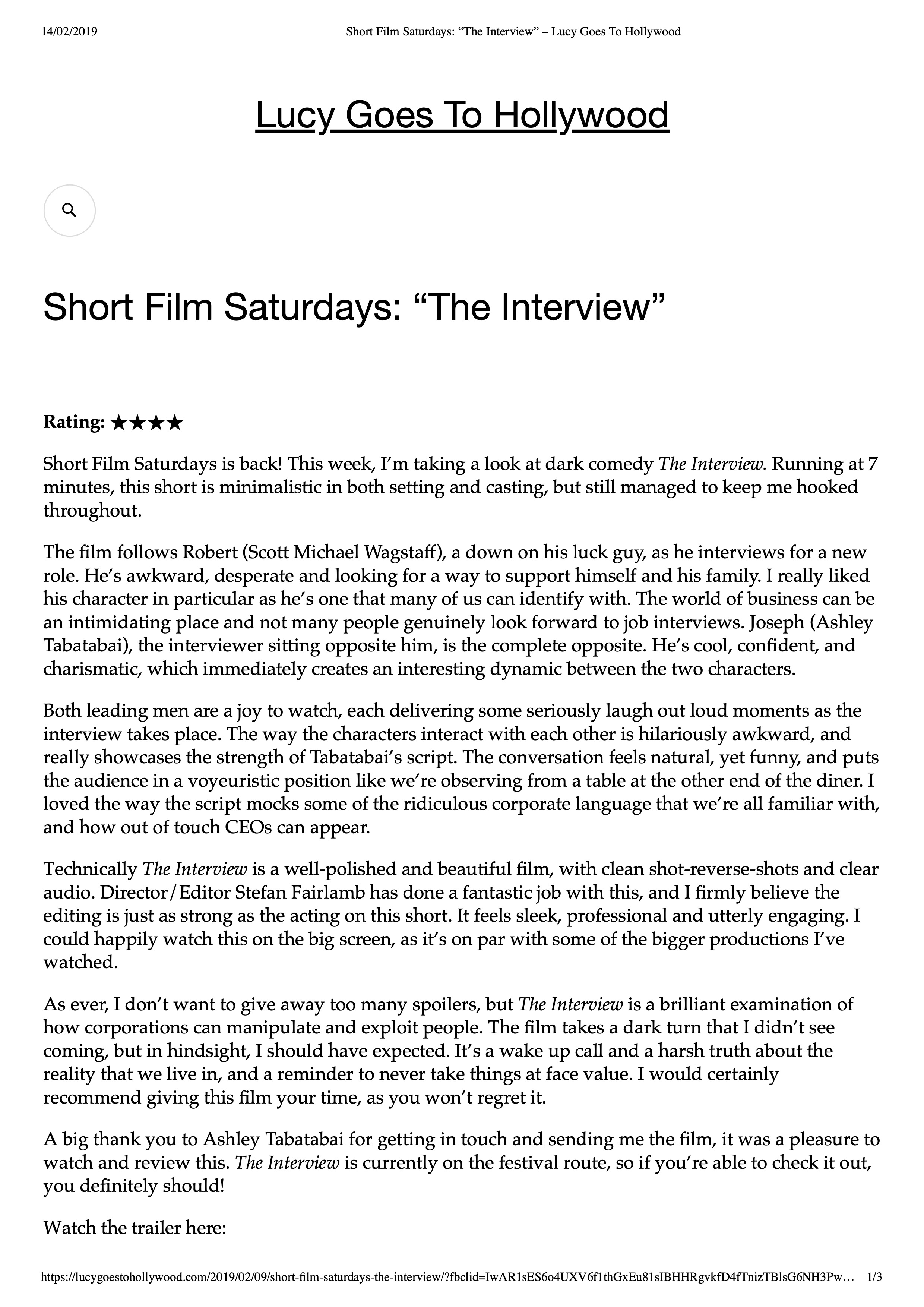 """Short Film Saturdays- """"The Interview"""" – Lucy Goes To Hollywood-1.jpeg"""