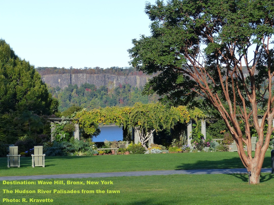The great lawn at Wave Hill with the New Jersey palisades in the background. IMAGE: ©R. KRAVETTE
