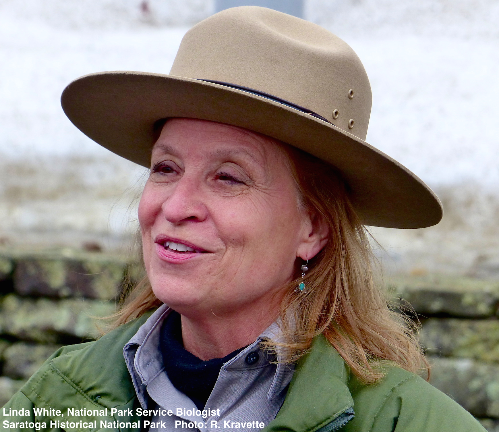 SHNP's Biologist Linda White never missed a beat POINTing OUT EVIDENCE (SCAT) OF SMALL MAMMALS & BIRDS and explaining the park's flora. all the while interspersing her narrative with fascinating stories of the area's revolutionary War role.