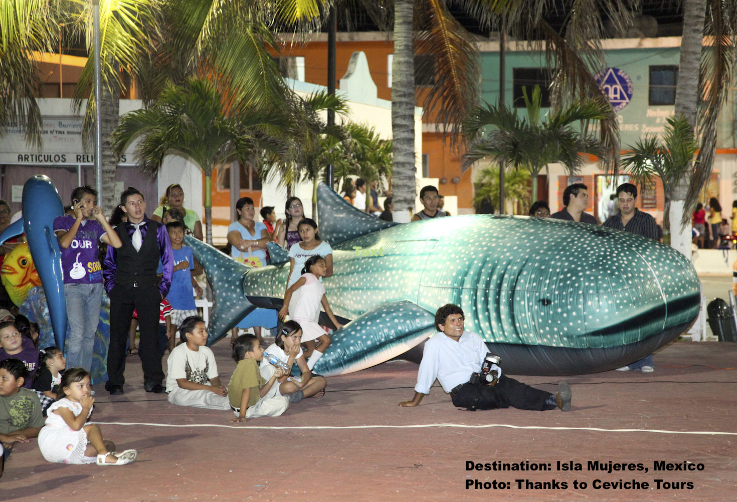 The people of Isla Mujeres, Mexico have turned their one-time fishing industry toward responsible tourism - and whale sharks are big beneficiary. This is at their annual whale shark festival. Image: Thanks to Ceviche Tours.