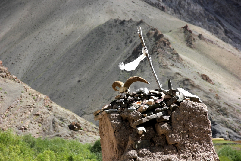 Covering all bases in a harsh land: This stupa on the road to Rumbak combines a traditional Buddhist prayer flag with a ram's skull. Image:  ©Tichonj ⎮Dreamstime.com
