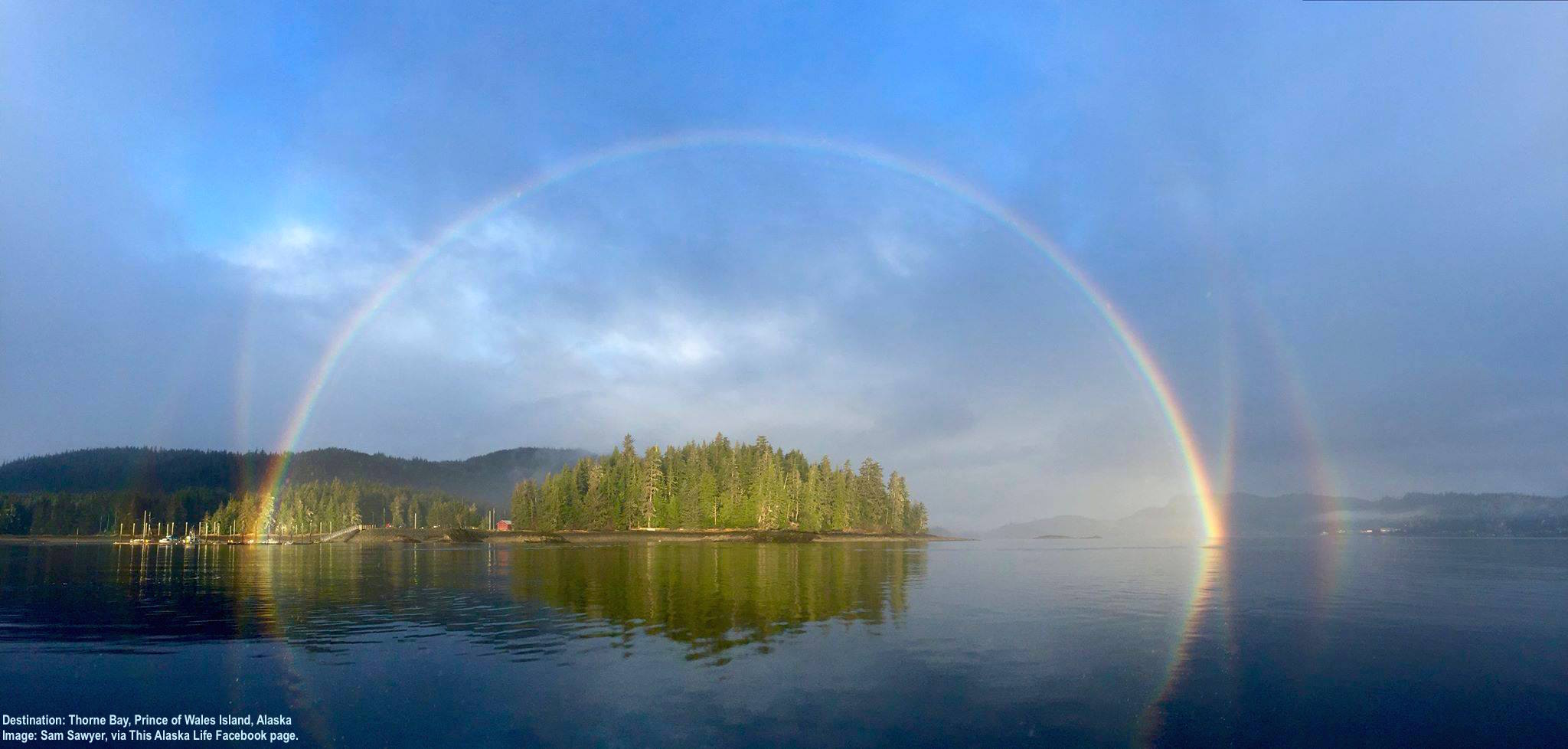 THE OLD GROWTH RAINFOREST OF TONGASS NATIONAL FOREST, BEARS, WOLVES, EAGLES, OTTERS, AND WHALES, GOOD FOOD, AND STRANGER WHO BECOME FAMILY - TOP IT OFF BY A RAINBOW AND THIS MUST BE PARADISE: PRINCE OF WALES ISLAND, ALASKA. IMAGE: SAM SAWYER VIA THIS ALASKAN LIFE FACEBOOK PAGE