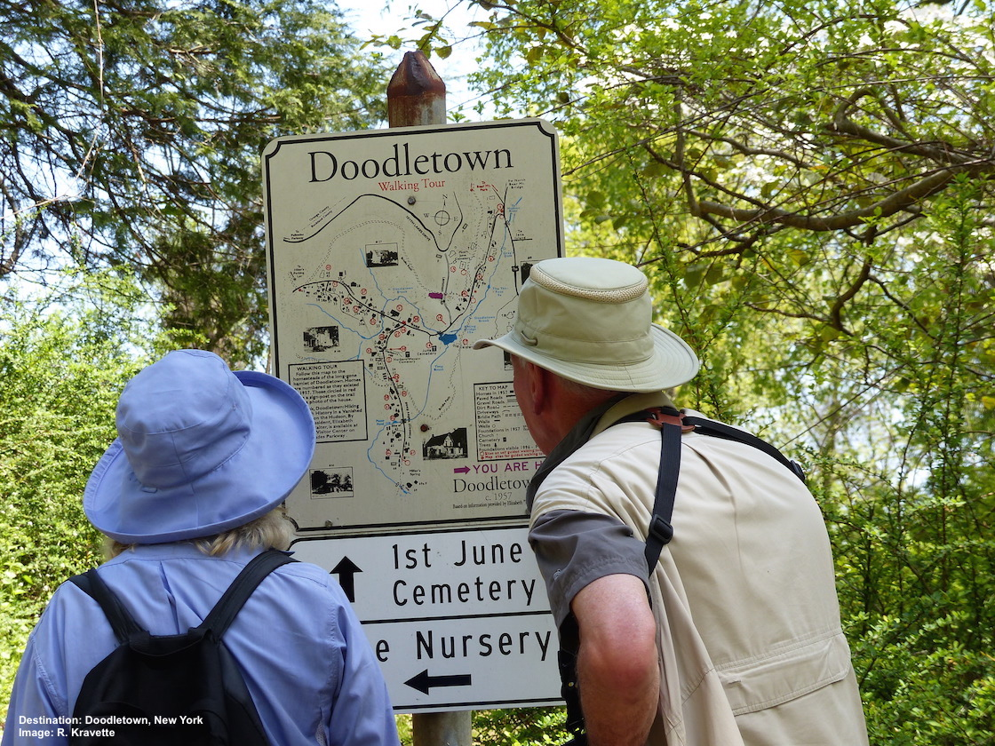 DECIDING WHICH TRAIL TO EXPLORE IN DOODLETOWN. IMAGE: R. KRAVETTE