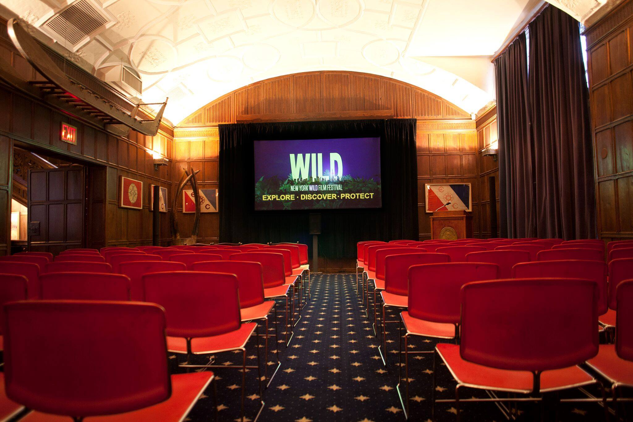 COULD THERE BE A MORE APPROPRIATE PLACE THAN THE EXPLORERS CLUB TO HOST THE NEW YORK WILD FILM FESTIVAL? FROM THE POLAR CAPS TO DEEP SPACE TO OCEAN'S CANYONS, AN EXPLORERS CLUB FLAG HAS BEEN THERE. THIS IS WHERE DREAM BECOMES REALITY. IMAGE: THANKS TO THE NEW YORK WILD FIMS FESTIVAL