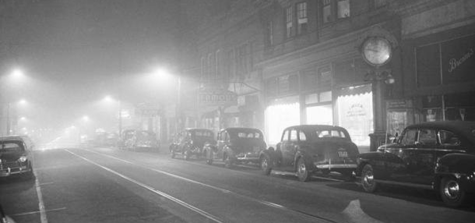 NOON TIME IN DONORA IN OCTOBER 1948. THE SMOG MADE IT SO DARK THAT STREET LIGHTS WERE NECESSARY. 20 PEOPLE DIED AND 40% OF THE 14,000 RESIDENTS WERE SICKENED. THE DONORA TRAGEDY WAS THE BEGINNING OF CLEAN AIR LEGISLATION IN THE UNITED STATES. IMAGE: CALU ARCHIVES AND TIM KOVACH.