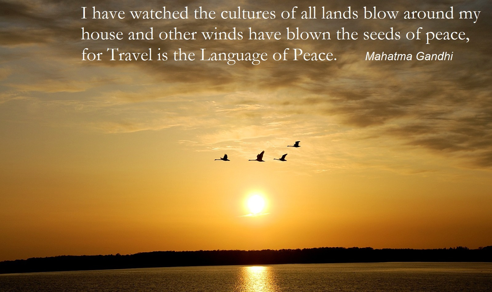 GANHDI SAID:  I HAVE WATCHED THE CULTURES OF ALL LANDS BLOW AROUND MY HOUSE AND OTHER WINDS HAVE BLOWN THE SEEDS OF PEACE FOR TRAVEL IS THE LANGUAGE OF PEACE . IMAGE:  THE INTERNATIONAL INSTITUTE FOR PEACE THROUGH TRAVEL